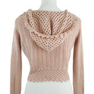 Lilu Sweaters - Lilu Blush Angora Crochet Hooded Crop Sweater